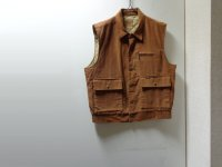80'S Lee CORDUROY VEST WITH QUILTING LINER(リー キルティング裏地 + 中綿入り コーデュロイベスト)MADE IN USA(L)