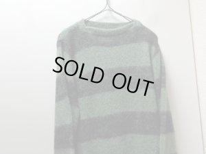 画像3: 60'S milwaukee knit WIDE BORDER PATTERN MOHAIR SWEATER(ミルウォーキーニット 太ボーダー柄モヘアクルー変形ネック仕様セーター)(S)