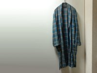 70'S Sears CHECK PATTERN ACETATE × RAYON GOWN(シアーズ チェック柄アセテート×レーヨン混紡ガウン)(M)