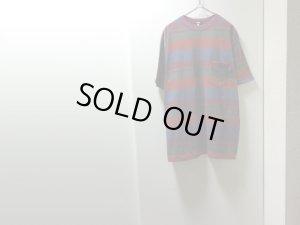 画像1: 80'S OLD STUSSY MULTI BORDER PATTERNE T-SHIRTS WITH POCKET(オールド ステューシー マルチボーダー柄 ポケット付きTシャツ)MADE IN USA(XL)