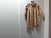 90'S OLD STUSSY CHECK PATTERN S/S COTTON SHIRTS(オールド ステューシー チェック柄 比翼仕様 半袖 コットン シャツ)MADE IN USA(M)